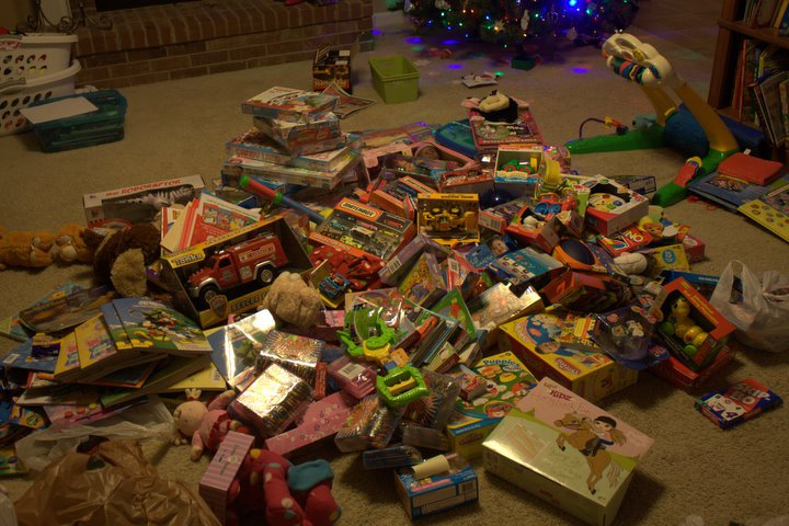 Pile of toys at Christmas