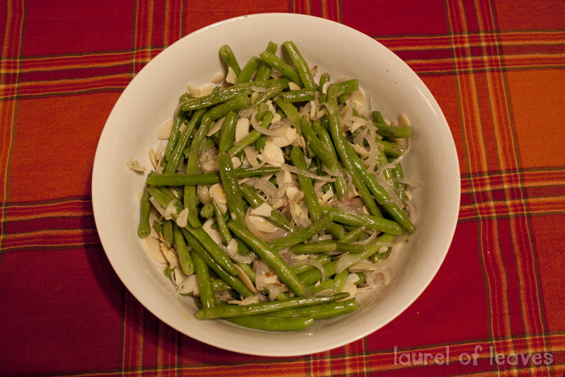 Roasted Green Beans with Shallots & Almonds