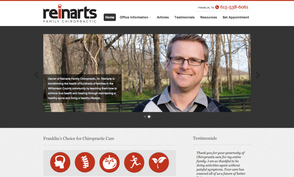 Green Pond Creative website for Reinarts Family Chiropractic