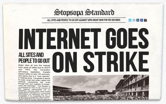 Stop SOPA: Internet Goes on Strike