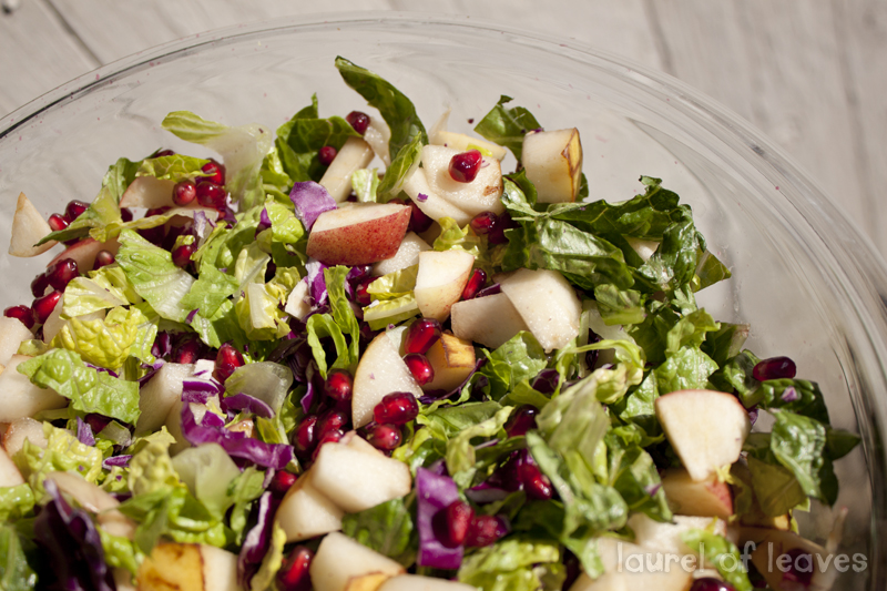 Winter Chop Salad with Apple, Pear, & Pomegranate