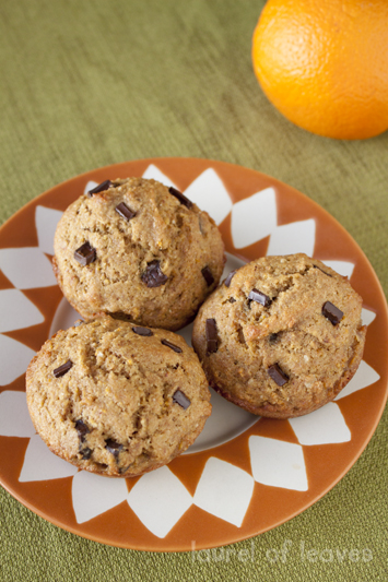 Whole Orange Chocolate Chip Muffins